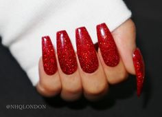 Get ready to get your life with these nails! Phenomenal sparkle to set off the party season. Red holo glitter encapsulated to create a smooth, crystal clear, ultra gloss finish [Image Displays: Long Coffin]Your set of nails is hand crafted special...