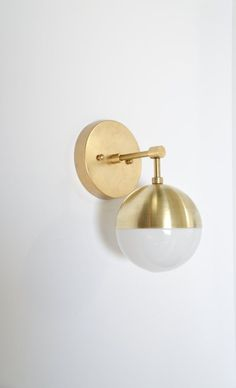 Brass & glass wall sconce  modern brass and by TripleSevenHome