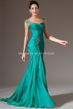 Best Selling Sheath V neck Floor Length Turquoise Chiffon Cap Sleeve Beaded Pleats Prom Party Dresses 2015 New Evening Dress-in Evening Dresses from Weddings & Events on Aliexpress.com | Alibaba Group