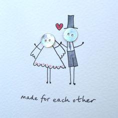 Personalised 'Button Wedding' Handmade Card