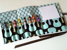 """Travel Crayon Roll!  GRWB would love this for his """"daawing"""" and @Catherine Bertrand would love this carrier.  Clearly, i need to make this happen."""