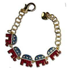Crystal Republican Logo Bracelet - Red, White and Blue Crystals with White Enamel Stars adorn this 5 elephant bracelet in the shape of the Republican logo. Just in time for election season!  Price: $30.00  http://www.starsandstripesproducts.com/crystal-republican-logo-bracelet/