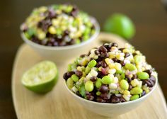 Black bean, corn, and edamame salad with cilantro and lime vinaigrette~~~~this is delicious! It's just like Cowboy caviar but with Edamame I Love Food, Good Food, Yummy Food, Edamame Salad, Healthy Snacks, Healthy Eating, Vegetarian Recipes, Healthy Recipes, Delicious Recipes