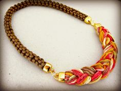 rope and braid necklace statement necklace by beYOUtifulhandmade