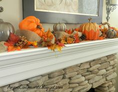 Fall Mantle Decor; love the painted pumpkins from http://anyonecandecorate.blogspot.com