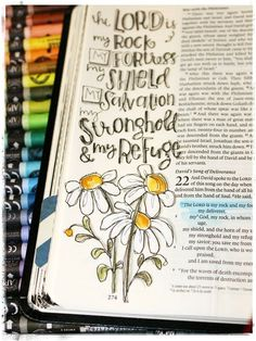 The Lord is my rock, and my fortress, and my deliverer | 2 Samuel 22:2 | Stephanie Ackerman | #biblejournaling #illustratedfaith