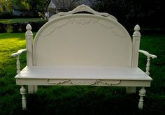 Bench made from headboard ,romantic , shabby chic,, arched top with lots of details,repurposed on Etsy, $349.00