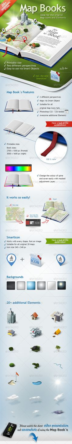 Map Books – The stage for your 3D Maps and Icons — Photoshop PSD #icons #mock up • Available here → https://graphicriver.net/item/map-books-the-stage-for-your-3d-maps-and-icons/5434942?ref=pxcr