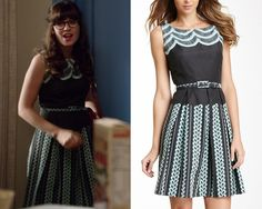 Jess wore this belted print fit and flare dress with a scalloped bodice in tonight's episode of New Girl! And the really good news is ...
