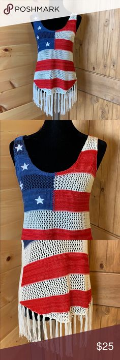 db40666972 Cloud Chaser Patriotic crochet tank with fringe M Cloud Chaser crochet tank  Size medium 96%