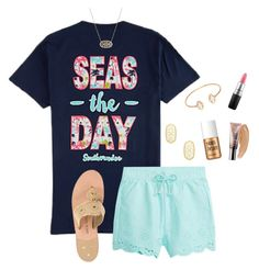 """seas the day"" by morganmestan ❤ liked on Polyvore featuring Jack Rogers, Kendra Scott, Adele Marie, Benefit, Urban Decay and MAC Cosmetics"