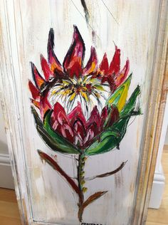 protea Protea Art, South African Design, Arts And Crafts, Diy Crafts, Flower Tattoos, Flower Art, Beautiful Flowers, Design Art, Painting Flowers