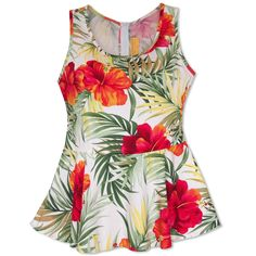 - Details - Size Chart - How to Measure - Hawaiian floral fabric is shaped for a pretty fit with a flounced peplum that flares from the natural waist. Match with your favorite skirt, jeans, cute short
