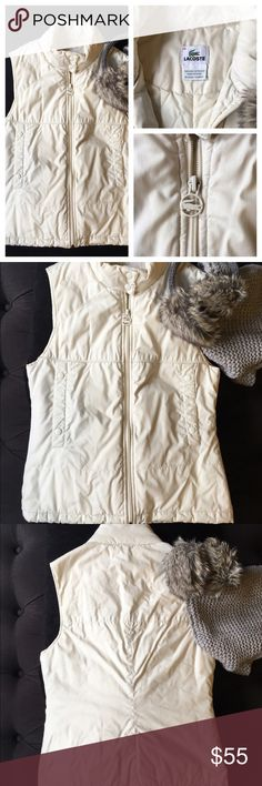 🐊 Lacoste OffWhite Vest Lacoste off white colored vest. Perfect for the fall/winter to add that extra layer of warmth! Size 36 is equivalent to a Small. Gently used with some areas of mild unstitching; not noticeable when worn! Love the item, but not the price? Make an offer using the offer button! Lacoste Jackets & Coats Vests