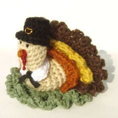 This little pilgrim turkey is super fun! Make it as a Thanksgiving decor item, bath scrubbie, or toy. Great project for using all the different color yarns you've accumulated in your stash. Pattern includes names/brands of all the yarns used for the photographed turkey. I blogged about my design process here if you'd like to learn more about me and my designs. http://cuddlebugkids.blogspot.com/2011/11/crochet-thanksg... Thanks for looking…gobble gobble! Maria