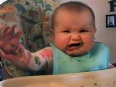Growling baby dislikes green beans