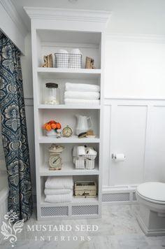 Open shelving in bathroom painted in Benjamin Moore bright white Bathroom Shelf Decor, Bathroom Storage, Bathroom Ideas, Bathroom Renovations, Bath Shelf, Bathroom Hacks, Remodel Bathroom, Design Bathroom, Kitchen Remodel
