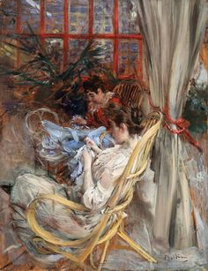 """Women Sewing ~ Giovanni Boldini was an Italian genre and portrait painter. According to a 1933 article in Time magazine, he was known as the """"Master of Swish"""" because of his flowing style of painting. Giovanni Boldini, Italian Painters, Italian Artist, John Singer Sargent, Pierre Auguste Renoir, Sewing Art, Italian Renaissance, Wassily Kandinsky, Equine Art"""