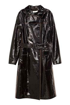 Dwurzędowy płaszcz skórzany - Czarny - ONA | H&M PL