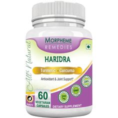 Morpheme Turmeric Curcumin (Haridra) For Antioxidant & Joint Support. It is a potent anti-inflammatory and antioxidant agent.