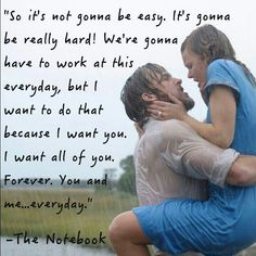 The Notebook is a 2004 romantic drama film directed by Nick Cassavetes, based on the romance novel of the same name by Nicholas Sparks. The film stars Ryan Gosling and Rachel McAdams as a young couple who fall in love during the early I cry my eyes outs! Nicholas Sparks, Rachel Mcadams, Gena Rowlands, Leonardo Dicaprio En Titanic, Citations Film, Movie Kisses, Romantic Movie Quotes, Romantic Films, Romantic Scenes