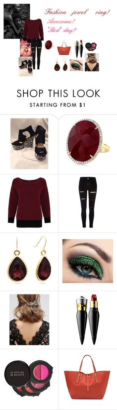 """""""For Scarlett (friend) - Scarlett's ideal wardrobe by me: #336: Fashion jewel ring!"""" by sarah-m-smith ❤ liked on Polyvore featuring Anne Sisteron, Gerry Weber, River Island, ASOS, Christian Louboutin and Le Métier de Beauté"""
