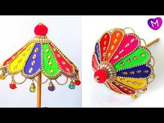 How to make Ganesh Umbrella Cool Paper Crafts, Paper Crafts Origami, Diy Crafts For Gifts, Creative Crafts, Newspaper Crafts, Creative Art, Umbrella Decorations, Diwali Decorations, Festival Decorations