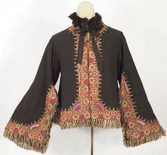 Wool jacket fashioned from Kashmir shawl, 1860s, from the Vintage Textile archives.