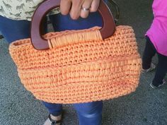 Crochet bag with handles