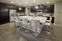 The Rosewood kitchen from - we love this supersize island! Kitchen Dining, Kitchen Decor, Dining Rooms, Kitchen Ideas, Kitchen Island, Decor Interior Design, Interior Decorating, New Home Communities, New Homes For Sale