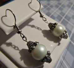 Earrings  Handmade with White Pearls and Silver by CraftyChic90, $3.50