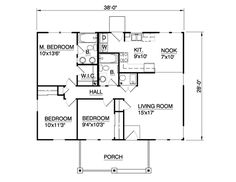 Country Level One of Plan 94372. 1064 sqft floor plan,  3 bedroom, porch, house