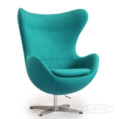 Egg Chair, Turquoise Bouclé Cashmere Wool |