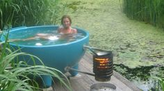 Dutchtub portable hot tub.  You can roast marshmallows over the fire