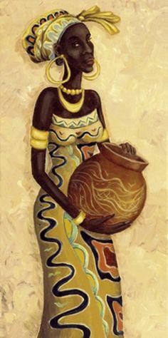 A. S.: African Femme II - Original auf Leinwand 80 x 40 cm