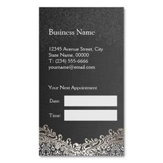 Elegant Silver Damask - Hair Stylist Appointment Double-Sided Standard Business Cards (Pack Of 100)