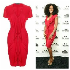 SOLD 🚫🚫🚫🚫Alexander McQueen Raspberry Dress🚫🚫 Seen on Kelly Roland ..... Brand new Alexander McQueen Raspberry Draped Ruffle V-Neck Dress  .....this a beautifil red just imagine mac rubywoo or ur body  yes its red but one of a kind red unbelievably soft material viscose and cashmere fit a small - medium Alexander McQueen Dresses