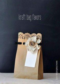 Pretty brown paper bag gift wrap.