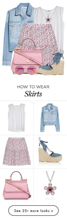 """""""Printed Mini Skirt & Denim Jacket"""" by brendariley-1 on Polyvore featuring MANGO, Augustine Jewels, Yves Saint Laurent, Dolce&Gabbana and Le Specs"""