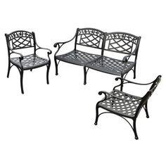 Crosley Sedona 3 Piece Cast Aluminum Outdoor Conversation Seating Set - Conversation Patio Sets at Hayneedle