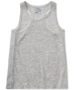 Ralph Lauren Racerback Tank Top, Little Girls (4-6X) - Adven Heather 6X