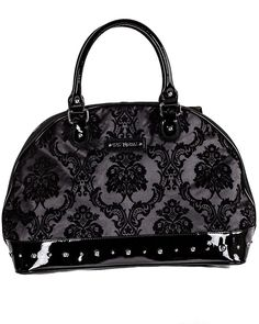 Rock Rebel | Damask Overnighter Bag in Midnight Black - Tragic Beautiful buy online from Australia