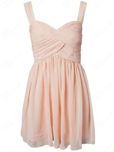 A-line Straps Chiffon Short/Mini Sleeveless Pleats Party Dresses at Dresseshop