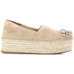 Miu Miu Embellished Suede Platform Espadrilles ($960) ❤ liked on Polyvore featuring shoes, sandals, platform shoes, suede platform sandals, miu miu shoes, suede leather shoes and sand suede shoes