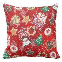 #Retro 50s #Christmas #Cookies and #Snowflakes on Red #Pillows #ThrowPillow #HomeDecor