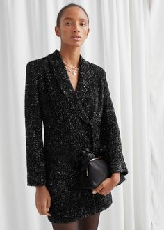 Sequin Double Breasted Blazer Dress - Black - Mini dresses - & Other Stories Warm Dresses, Nice Dresses, Dresses With Sleeves, Sleeve Dresses, New Years Eve Dresses, Cool Summer Outfits, Winter Outfits, Belle Dress, Glamorous Dresses
