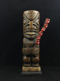 "Beachbumz Custom Ka'oha Marquesan Tiki Mug ""Skull Collector"" - Made on Maui"
