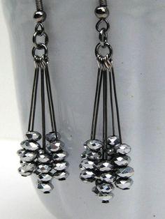 Black Dangle Earrings, Silver Sparkly Earrings, New Years Earrings, Gunmetal Earrings