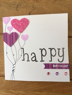 Handmade birthday card using stamping & embossing, patterned paper and embellishments. Feel like my card making & paper-craft is very slowly improving. Cardmaking And Papercraft, Stick Figures, Handmade Birthday Cards, Craft Organization, I Card, Stamping, Embellishments, Promotion, Card Making