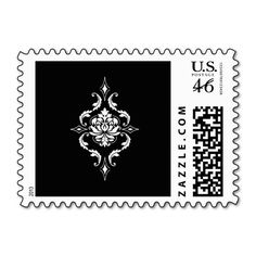 Diamond Damask, White on Black Postage Stamps
